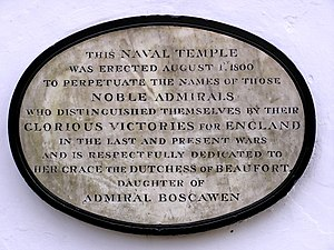 The Kymin - Image: Plaque on the Naval Temple nr Monmouth geograph.org.uk 143833