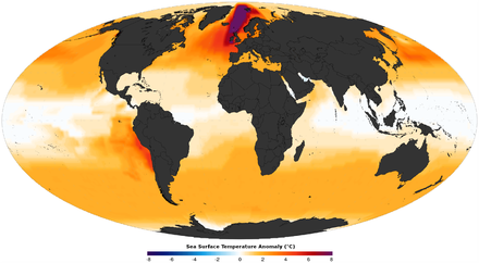 Mid-Pliocene reconstructed annual sea surface temperature anomaly Pliocene sst anomaly.png