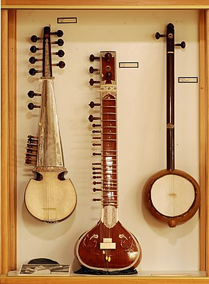 Ravi Shankar's Music Festival from India - Examples of three of the string instruments used in the Music Festival from India – sarod, sitar and ektara