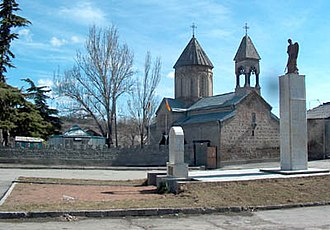 Tskhinvali - The monument to the victims of the Georgian-Ossetian conflict near the Armenian church in Tskhinvali