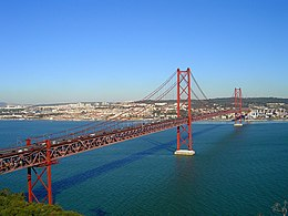 Длинный красный подвесной мост на фоне безоблачного неба