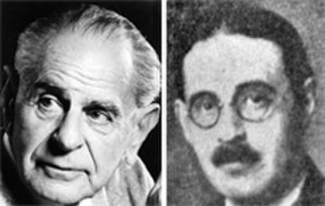 Bernard Levin - Levin's LSE tutors, Karl Popper (l.) and Harold Laski