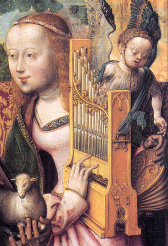 A depiction of Saint Cecilia playing a portative organ (cropped from the Bartholomausaltar), painted around 1505 to 1510. The bellows can be seen to the right of the pipes. Portativ.png