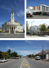 A collection of images from Porterville, Western Cape, South Africa. Top left: main church. Top right: A 'China Shop' located in the town. Left center: Historic town house on the main street. Bottom: A view of the town's main road.