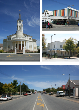 Porterville, Western Cape - A collection of images from Porterville, Western Cape, South Africa.  Top left: main church. Top right: A 'China Shop' located in the town. Left center: Historic town house on the main street.  Bottom: A view of the town's main road.