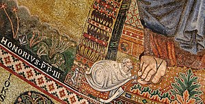 Pope Honorius III - Portrait of Honorius III: detail of the apse mosaic of the Basilica of Saint Paul Outside the Walls (1220) (Rome, Italy)