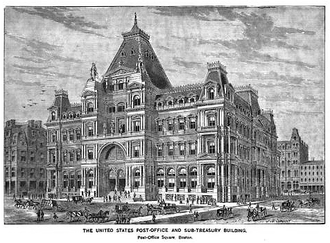 United States Post Office and Sub-Treasury Building (Boston) - Image: Post Office Sq Kings Boston 1881