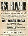 Poster for missing horse, Seattle, 1891.jpg