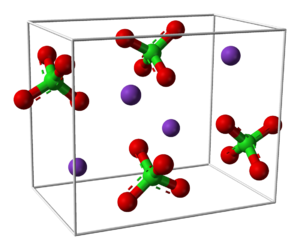 Potassium perchlorate - Image: Potassium perchlorate unit cell 3D balls perspective