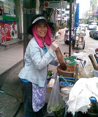 Street food of Thailand - Som tam (green papaya salad) is a popular street food in Thailand.