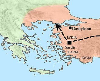 Lydia (satrapy) - Xerxes stationned in Sardis with all his invasion force during the winter of 481-480 BCE.