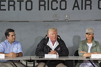 Ricardo Rosselló - Rosselló with President Donald Trump and First Lady Melania Trump following Hurricane Maria in 2017.