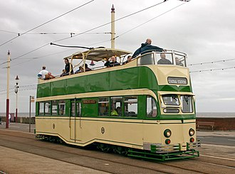 "Blackpool Tramway - Open-topped Balloon tram 706 ""Princess Alice"" at Bispham"