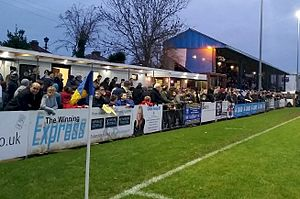 Gosport Borough F.C. - The main stand at Privett Park