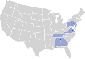 Professional Indoor Football League - Map of the team cities in the Professional Indoor Football League.
