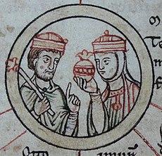 König Heinrich I. mit Zepter und seine Frau Mathilde
