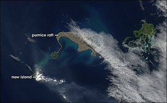 Pumice raft - Pumice raft near Tonga Islands, taken by NASA Earth Observatory, based on data from the Moderate-Resolution Imaging Spectroradiometer Rapid Response System, Goddard Space Flight Center
