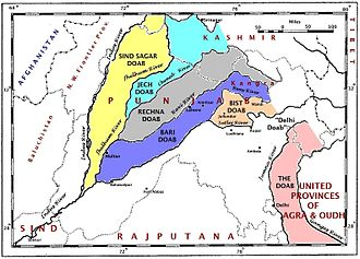 Khalistan movement - A map of the Punjab region ca. 1947 showing the doabas formed by Ravi River with other rivers of the Indus River system.