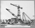 Queensland State Archives 3306 South anchor pier caissons and hammer head crane 2 April 1936.png