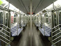 Interior of an R160A car on the E line