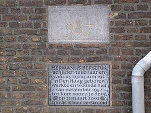"""Hermanus Berserik -  Plaque on his former house in """"De Voorde"""" (Rijswijk)"""