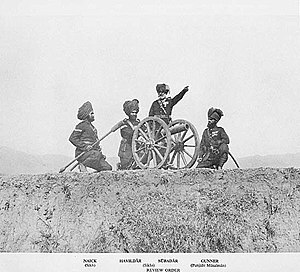 "British Indian Army - No. 4 (Hazara) Mountain Battery with RML7 pounder ""Steel Gun"" Mountain Gun in Review Order. Left to right Naick, Havildar, Subadar (Sikhs) and Gunner (Punjabi Musalman) circa 1895."