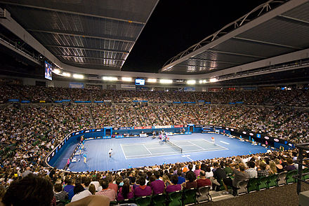 Melbourne hosts the Australian Open, the first of four annual Grand Slam tennis tournaments. Rafael Nadal Vs Philipp Kohlschreiber (4309085696).jpg