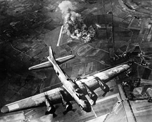 8th Air Force B-17 during raid of October 9, 1943 on the Focke-Wulf aircraft factory at Malbork, Poland (Marienburg in German).