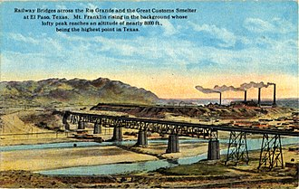 Rio Grande - Railway Bridges and the Great Customs Smelter (postcard, circa 1916)