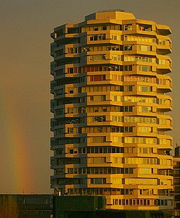 No. 1 Croydon, formerly the NLA Tower. Rainbow and office block, Croydon (geograph 3851950).jpg