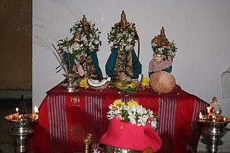 Rama Navami - Rama with Sita, Lakshman and Hanuman in a home shrine at Rama Navami