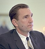 Former Attorney General Ramsey Clark rated jurors and led the discussion among defendants, attorneys, and social scientists about jury selection in the Harrisburg Seven case.