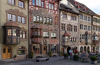 Stein am Rhein - Painted houses with bay windows in the Old Town