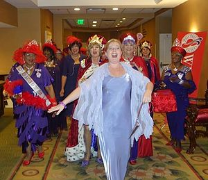 Red Hat Society - The Royal Court of Queens Processional at a recent conference.