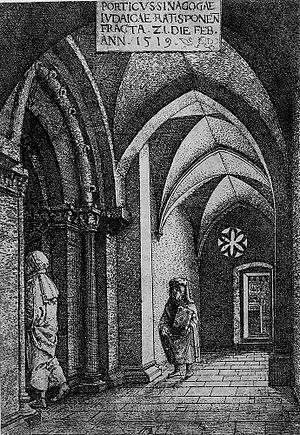 Regensburg Synagogue - Image: Regensburg Synagogue, 1519