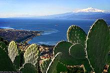 La Sicilia vista da Reggio Calabria con dei fichi d'India in primo piano.
