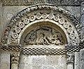 Reich geschmückt, die romanische Apsis (12. Jahrhundert) der Kirche Saint-Vivien-de-Medoc. 6.jpg