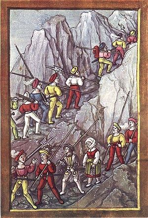 Swiss mercenaries - Swiss mercenaries crossing the Alps (Luzerner Schilling)
