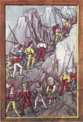 Transalpine campaigns of the Old Swiss Confederacy - Swiss mercenaries cross the Alps after quitting the Battle of Pavia of 1512 (Lucerne Chronicle, 1513)
