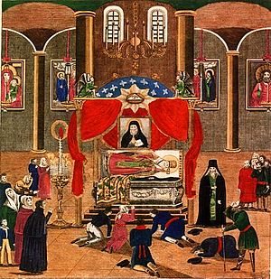 Mitrophan of Voronezh - The Ceremonial Opening of the Relics of Bishop Mitrofan in the Town of Voronezh on August 6th 1832