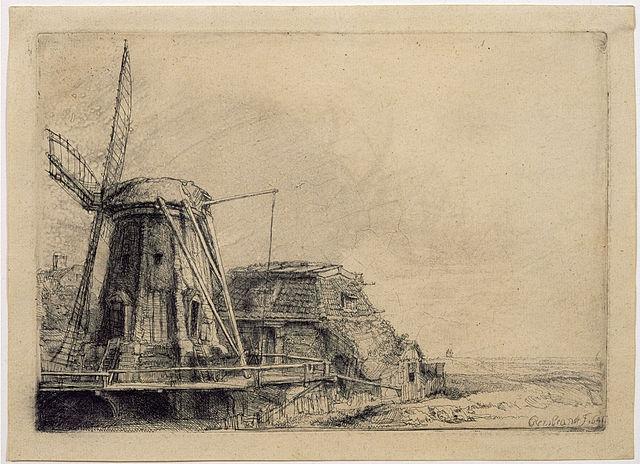 Офорт «Мельница» (1641)