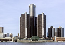 Renaissance Center, Detroit, Michigan from S 2014-12-07.jpg