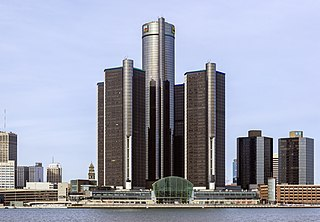 Renaissance Center group of interconnected skyscrapers in Detroit, Michigan, United States of America
