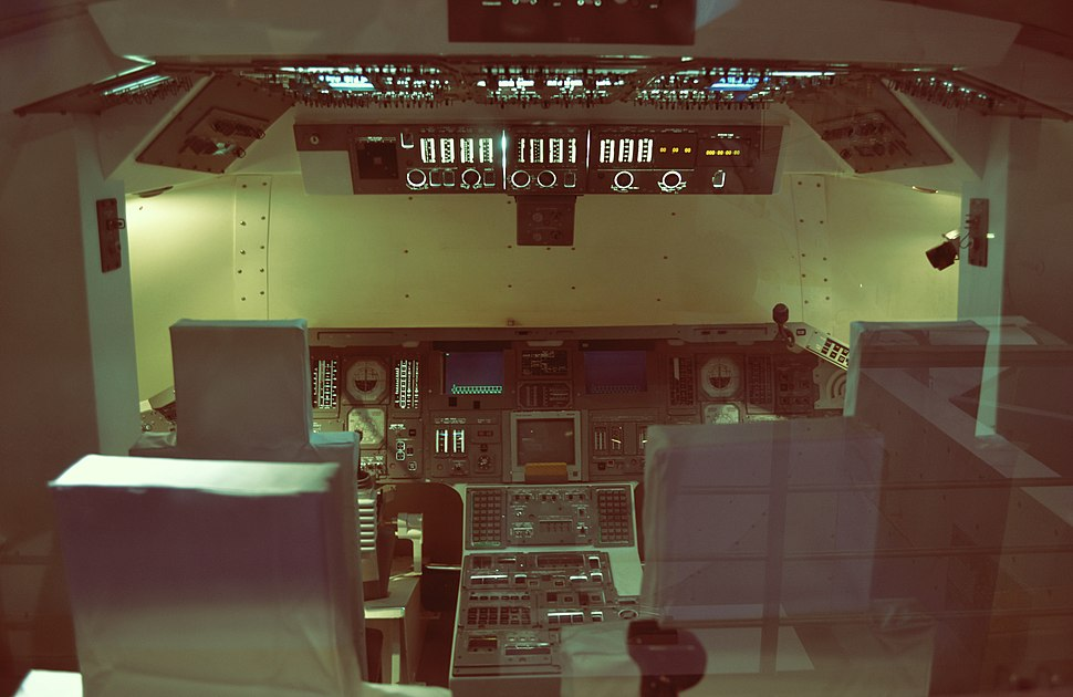Replica of the space shuttle cockpit at the Euro Space Center In Belgium