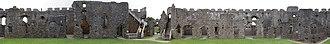 Restormel Castle - Image: Restormel Castle composite panorama showing interior courtyard elevation