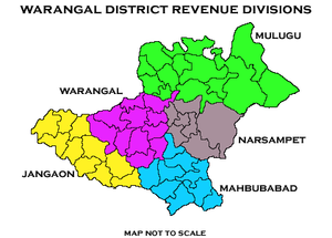 Warangal Urban district - Undivided Warangal District from 1st Oct 1953 to 10th Oct 2016