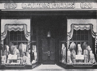"Revillon Frères - Revillon Frères, Regent Street 180, London. The sign says: ""Direct shipment from our Canadian posts"""