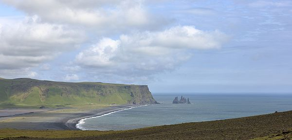 Reynisfjara and Reynisdrangar as seen from Dyrhólaey, Iceland