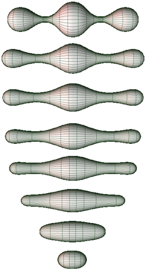 Poincaré conjecture - Several stages of the Ricci flow on a two-dimensional manifold