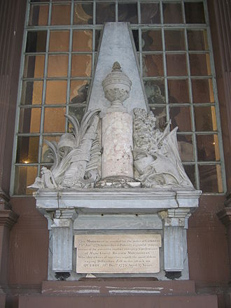 Richard Montgomery - Montgomery monument sculpted by Jean-Jacques Caffieri in 1777, installed at St. Paul's Chapel in 1787